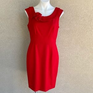 Ruby Red Floral Neckline Detail Sheath Mini Dress